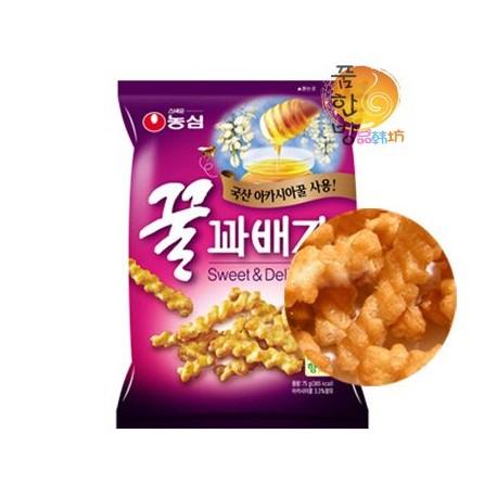 韩国进口正宗农心 蜂蜜油果蜜糖拔丝脆条 90g 膨化食品休闲零食